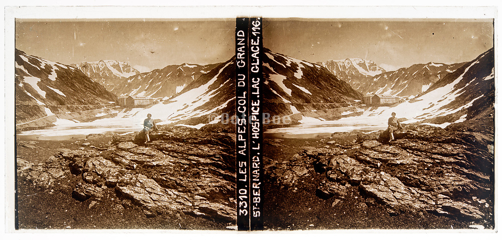 stereo slide Col Du Grand with lake Du Glace and hospice St Bernard n the Alps circa 1920s