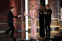"""Jan 8, 2017 - Beverly Hills, California, U.S - BEING PASEK accepts The Golden Globe for BEST ORIGINAL SONG – MOTION PICTURE for """"City of Stars"""" for """"La La Land"""" - music by: Justin Hurwitz; lyrics by: Benji Pasek, Justin Paul - at the 74th Annual Golden Globe Awards at the Beverly Hilton in Beverly Hills, CA on Sunday, January 8, 2017. (Credit Image: ? HFPA/ZUMAPRESS.com)"""