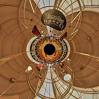 Time Out Market. Little Planet View. Composite of 19 images taken with a Nikon D850 camera and 8-15 mm fisheye lens (ISO 3200, 15 mm, f/8, 1/125 sec). Raw images processed with Capture One Pro and Auto Pano Giga.