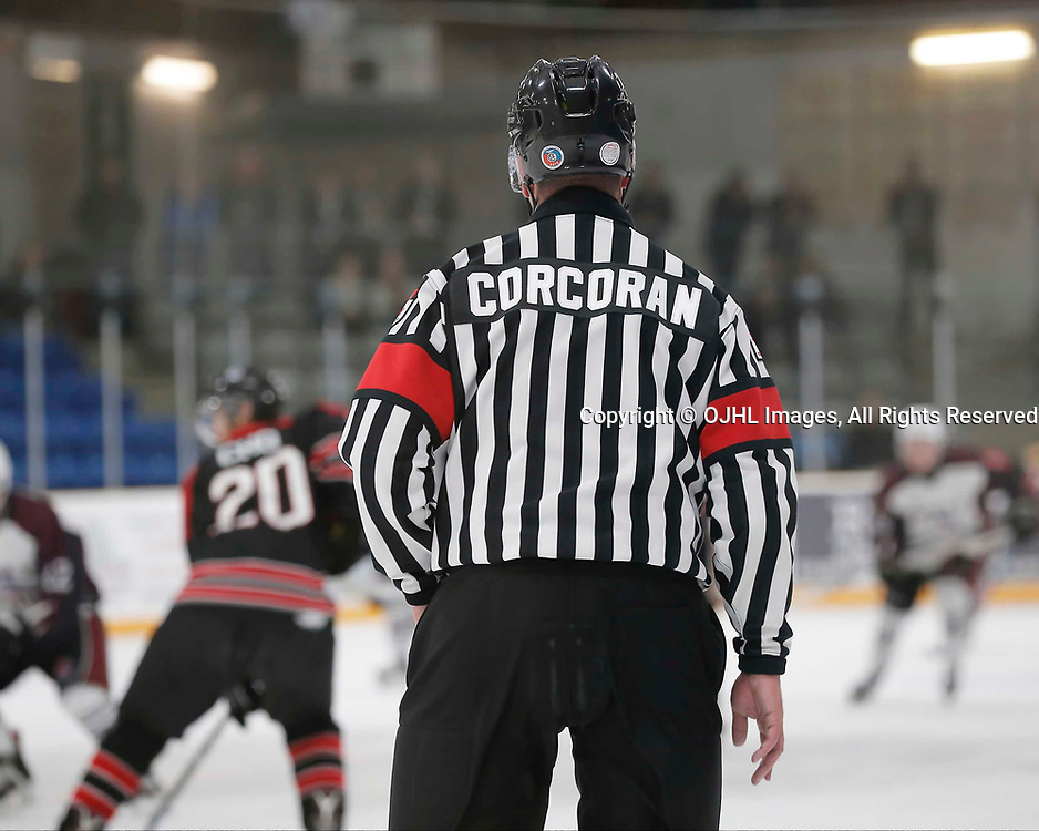 TRENTON, ON  - MAY 2,  2017: Canadian Junior Hockey League, Central Canadian Jr. &quot;A&quot; Championship. The Dudley Hewitt Cup. Game 1 between Dryden GM Ice Dogs and the Georgetown Raiders. OHA Referee  <br /> (Photo by Amy Deroche / OJHL Images)