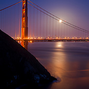 """Super Moon"" rising over Golden Gate Bridge."