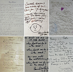 (c) London News Pictures. 06/12/2010. Lyrics by (L-R) Gary Barlow, Annie Lennox, Paul Weller, Paul McCartney, Chris Rea, Sting. Lyrics penned by famous songwriters including Sir Paul McCartney, Gary Barlow, Paul Weller and Annie Lennox go on display before the Bonhams' Entertainment Memorabilia Auction on the 15th December with proceeds going to the Teenage Cancer Trust.  Picture caption should read Will Oliver/London News Pictures..