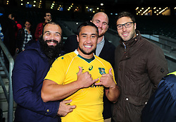 Leroy Houston of Australia poses for a photo with his Bath Rugby team-mates Kane Palma-Newport, Matt Garvey and Matt Banahan on the occasion of his debut cap for the Wallabies - Mandatory byline: Patrick Khachfe/JMP - 07966 386802 - 08/10/2016 - RUGBY UNION - Twickenham Stadium - London, England - Argentina v Australia - The Rugby Championship.