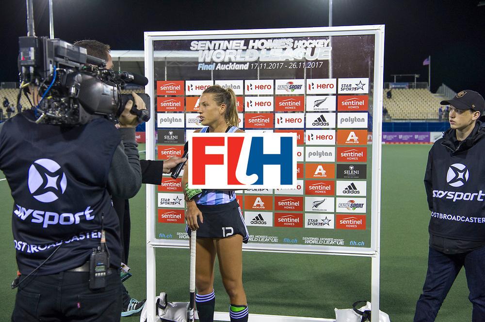 AUCKLAND - Sentinel Hockey World League final women<br /> Match id 10298<br /> 08 Argentina v England 1-0<br /> Foto: TV interview after match with Delfina Merino and Alex Danson( C) <br /> WORLDSPORTPICS COPYRIGHT FRANK UIJLENBROEK