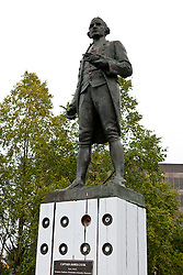 Statue of Captain James Cook commemorating the exploration of Cook Inlet, Anchorage, Alaska, United States of America