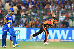 April 29, 2018 - Jaipur, Rajasthan, India - Sunrisers  Hyderabad bowler Siddhart Kaul bowls  plays a shot during the IPL T20 match against Rajasthan Royals at Sawai Mansingh Stadium in Jaipur on 29th April,2018. (Credit Image: © Vishal Bhatnagar/NurPhoto via ZUMA Press)
