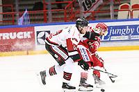 2020-01-08 | Ljungby, Sweden: Nybro Vikings (16) Alex Ek and Troja-Ljungby (3) Kevin Karlsson during the game between IF Troja / Ljungby and Nybro Vikings IF at Ljungby Arena ( Photo by: Fredrik Sten | Swe Press Photo )<br /> <br /> Keywords: Ljungby, Icehockey, HockeyEttan, Ljungby Arena, IF Troja / Ljungby, Nybro Vikings IF, fstn200108, ATG HockeyEttan, Allettan