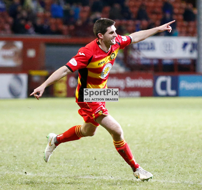 Partick Thistle v St.Johnstone in the Ladbrokes Premiership.... Kris Doolan (Partick Thistle) celebrates his goal ....(c) STEPHEN LAWSON | SportPix.org.uk