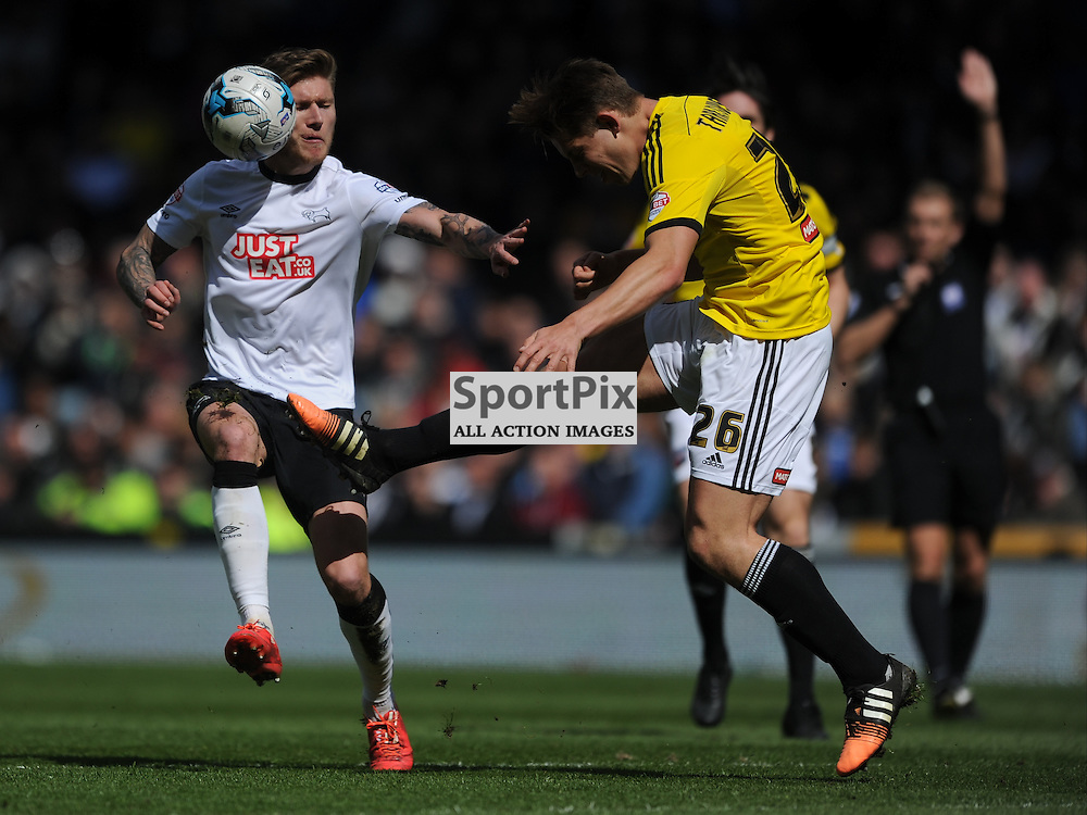 Brentfords James Tarkowski fires at Derbys Goal, Derby County  v Brentord, Sky Bet Championship, IPro Stadium Saturday 11th April 2015