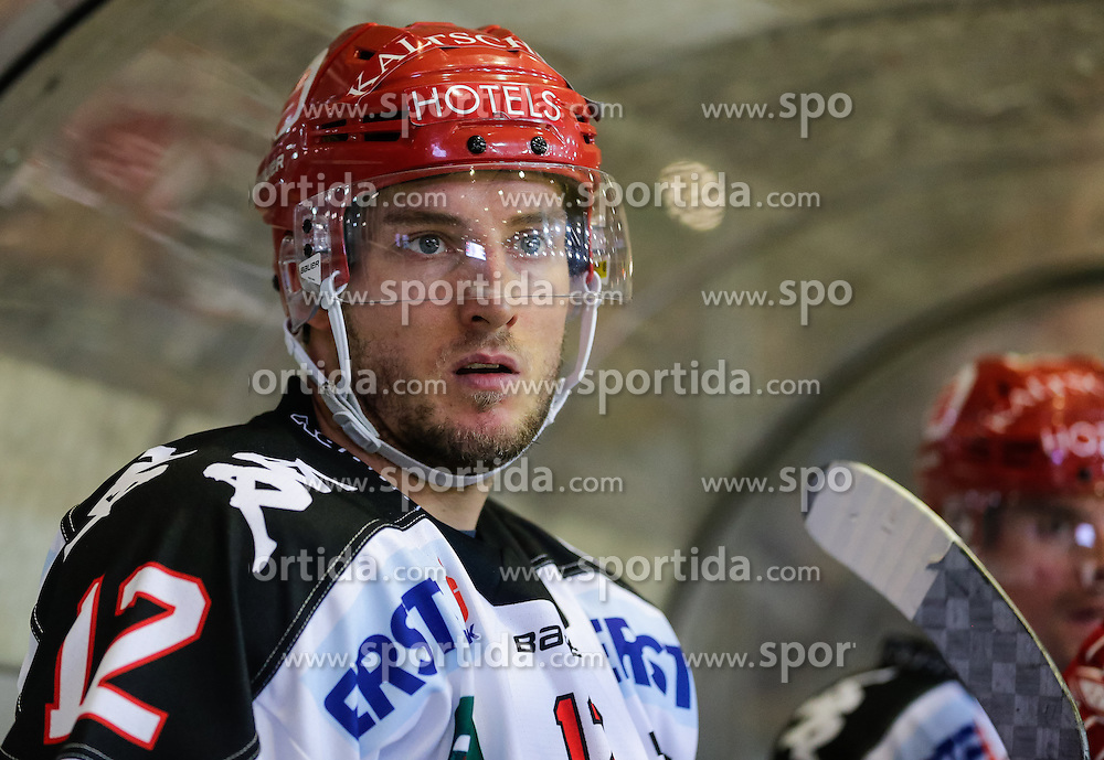 4.10.2015, Messestadion, Dornbirn, AUT, EBEL, Dornbirner Eishockey Club vs HC TWK Innsbruck Die Haie, 8. Runde, im Bild Andreas Valdix, (HC TWK Innsbruck, #12)// during the Erste Bank Icehockey League 8th round match between Dornbirner Eishockey Club and HC TWK Innsbruck Die Haie ers at the Messestadion in Dornbirn, Austria on 2015/10/04, EXPA Pictures © 2015, PhotoCredit: EXPA/ Peter Rinderer