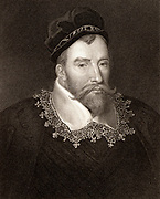 John Maitland, 1st Baron Maitland of Thirlestane (c1545-1595) Scottish statesman. Lord High Chancellor of Scotland; active in establishing the Kirk (Church) as Presbyterian. Engraving.