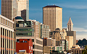 View of office buildings near the waterfront, Seattle, Washington