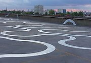 Agora by Richard Wentworth, painted in aluminium rich paint. Commissioned by Bold Tendencies on the roof of a disused multi-storey car park in Peckham, London.  June 2015