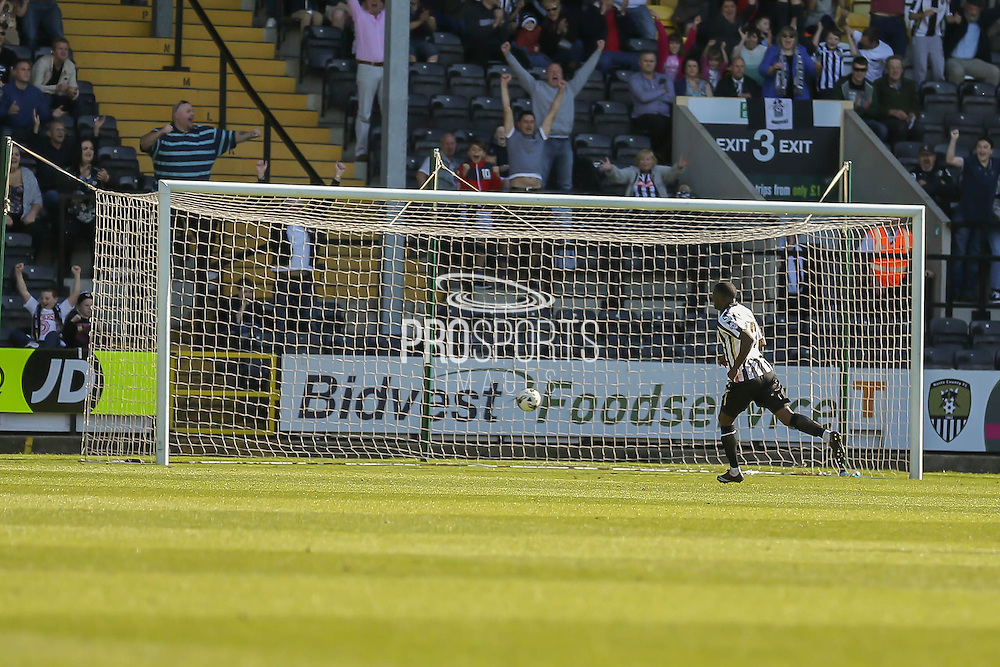 Notts County forward Izale McLeod puts the ball into an empty net  during the Sky Bet League 2 match between Notts County and York City at Meadow Lane, Nottingham, England on 26 September 2015. Photo by Simon Davies.