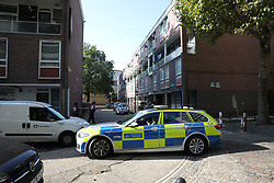 © Licensed to London News Pictures. 13/08/2019. London, UK. The scene at Munster Square in Camden, North London, where a male was stabbed to death last night. The victim, whose age has not yet been released, was pronounced dead at the scene after police were called shortly after 11pm. Photo credit: Peter Macdiarmid/LNP