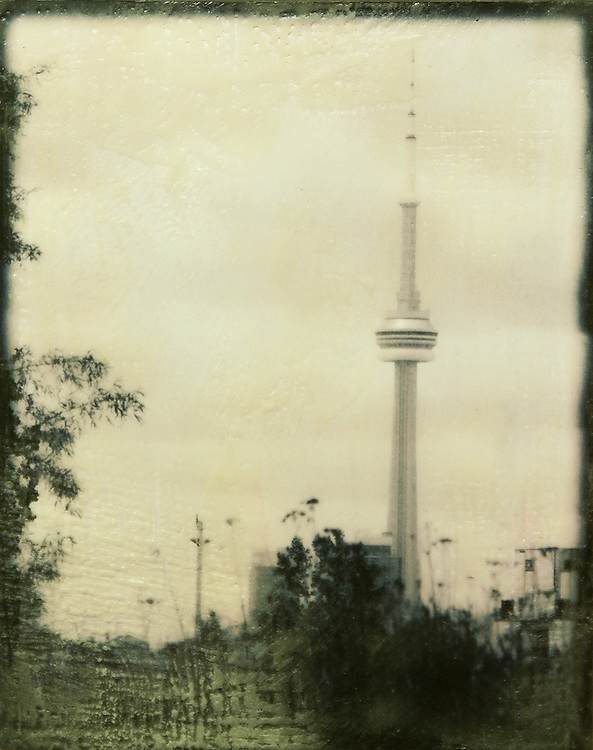 CN Tower Photo-Encaustic Art 8x10""