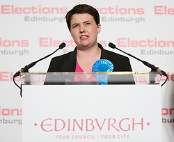 Scottish Parliament Election 2016 Royal Highland Centre Ingliston Edinburgh 05 May 2016; Ruth Davidson (Scottish Conservative leader) does her acceptance speech during the Scottish Parliament Election 2016, Royal Highland Centre, Ingliston Edinburgh.<br /> <br /> (c) Chris McCluskie | Edinburgh Elite media