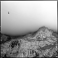 A cable car disappears in to the clouds in the Picos de Europa mountains in Northern Spain.