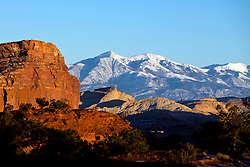 Panorama Point with view of the Henry Mountains at sunset, Capitol Reef National Park, Utah, United States of America