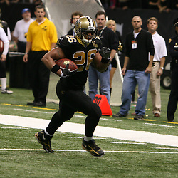 13 January 2007: New Orleans Saints running back Deuce McAllister (26) runs in the open field during a 27-24 win by the New Orleans Saints over the Philadelphia Eagles in the NFC Divisional round playoff game at the Louisiana Superdome in New Orleans, LA. The win advanced the New Orleans Saints to the NFC Championship game for the first time in the franchise's history.