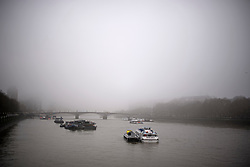 © Licensed to London News Pictures. 22/02/2019. London, UK. Fog shrouds the River Thames at Lambeth Bridge in the early morning at Westminster in Central London. Record temperatures for February have been predicted for next week. Photo credit: Ben Cawthra/LNP