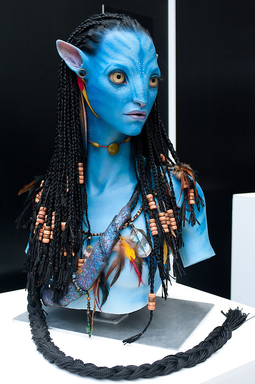 London, UK - 7 November 2013: Avatar 3d printed character by Legacy Effects on show at the 3D Printshow at the Business Design Centre in London.<br /> The Show brings together the biggest names in 3D printing technology alongside the most creative, exciting and innovative individuals using additive processes today.