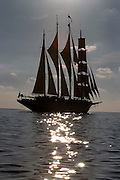Star Clipper leaving St. Kitts under sails.