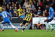 Burton Albion forward Abdenasser El Khayati strikes the ball during the The FA Cup match between Burton Albion and Peterborough United at the Pirelli Stadium, Burton upon Trent, England on 7 November 2015. Photo by Aaron Lupton.