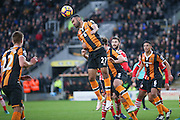 Hull City midfielder Ahmed Elmohamady (27)  clears the danger during the Premier League match between Hull City and Southampton at the KCOM Stadium, Kingston upon Hull, England on 6 November 2016. Photo by Simon Davies.