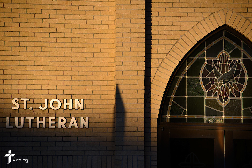 Exterior photograph of St. John's Lutheran Church in Plymouth, Wis., on Friday, Jan. 29, 2016. LCMS Communications/Erik M. Lunsford