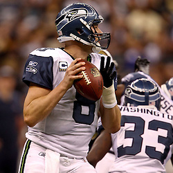 November 21, 2010; New Orleans, LA, USA; Seattle Seahawks quarterback Matt Hasselbeck (8) looks to pass against the New Orleans Saints during the second half at the Louisiana Superdome. The Saints defeated the Seahawks 34-19. Mandatory Credit: Derick E. Hingle
