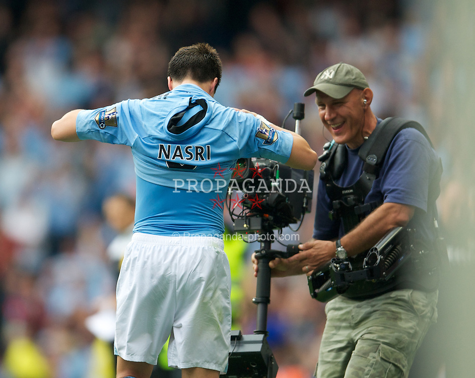 MANCHESTER, ENGLAND - Sunday, August 19, 2012: Manchester City's Samir Nasri celebrates scoring the winning third goal against Southampton during the Premiership match at the City of Manchester Stadium. (Pic by David Rawcliffe/Propaganda)