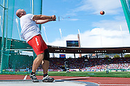 Szymon Ziolkowski of Poland competes in men's hammer throw final during the Fifth Day of the European Athletics Championships Zurich 2014 at Letzigrund Stadium in Zurich, Switzerland.<br /> <br /> Switzerland, Zurich, August 16, 2014<br /> <br /> Picture also available in RAW (NEF) or TIFF format on special request.<br /> <br /> For editorial use only. Any commercial or promotional use requires permission.<br /> <br /> Photo by © Adam Nurkiewicz / Mediasport