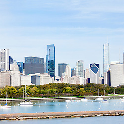 Photo of Chicago panorama skyline of downtown and Lake Michigan lakefront. Photo was taken in late 2011 and is high resolution.