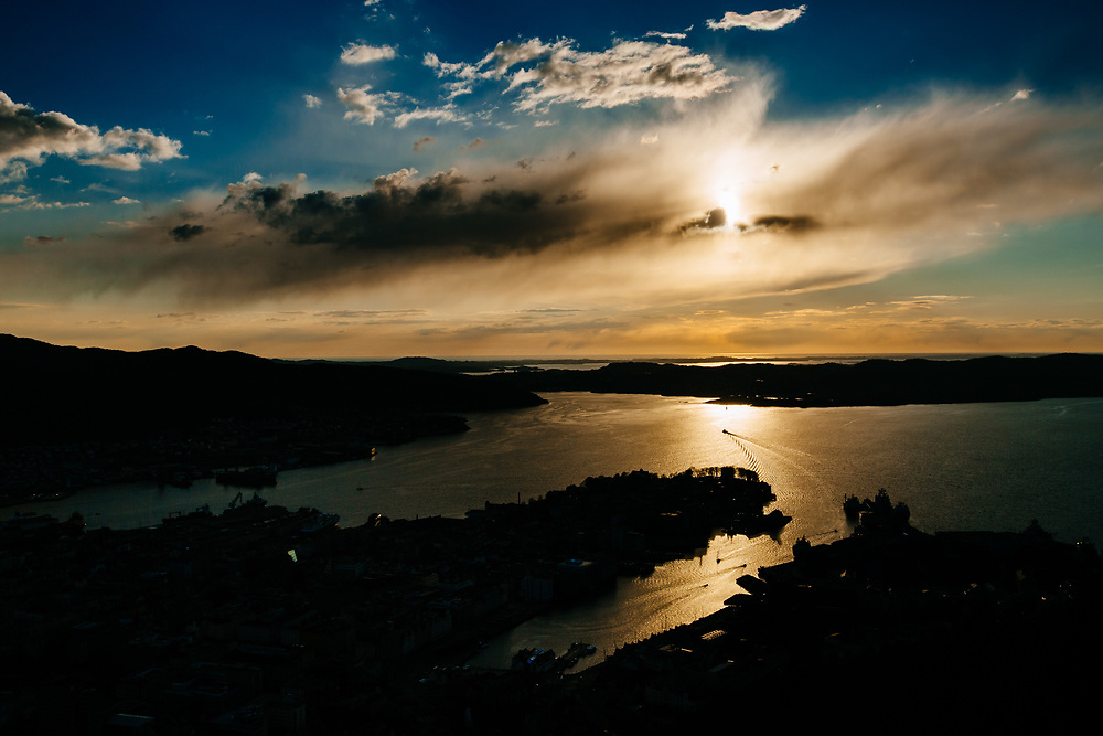 View over the Bergen Bay area during sunset from Mount Floyen, in Bergen, Norway