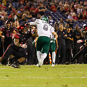 22 September 2018: The San Diego State Aztecs beat the Eastern Michigan Eagles 23-20 in over time at SDCCU Stadium in San Diego, California.