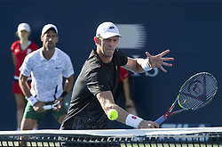 TORONTO, Aug. 11, 2018  Novak Djokovic of Serbia and Kevin Anderson (Front) of South Africa compete during the quarterfinal match of men's doubles against Nikola Mektic of Croatia and Alexander Peya of Austria at the 2018 Rogers Cup in Toronto, Canada, Aug. 10, 2018. Novak Djokovic of Serbia and Kevin Anderson of South Africa lost 0-2. (Credit Image: © Xinhua via ZUMA Wire)