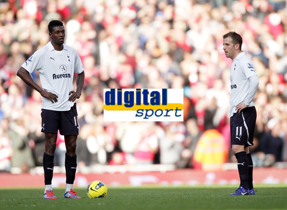 20120226: LONDON, UK - Barclays Premier League 2011/2012: Arsenal vs Tottenham.<br /> In photo: Tottenhams Emmanuel Adebayor looks on dejected after going 5-2 down.<br /> PHOTO: CITYFILES