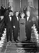 President Reagan Visits Ireland..(formal dinner)..1984.04.06.1984.06.04.1984.4th June 1984..The Banquet for President and Mrs Reagan was held in Dublin Castle,Dame St,Dublin..Portrait taken on the stairs of Dublin Castle, president and Mrs Reagan are flanked by (L) Tanaiste,Mr Dick Spring and the Taoiseach, Mr Garret Fitzgerald..
