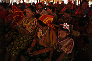 Guna indian women listening to the Sahila´s prayers and stories. Spiritual Guna General Congress, the highest political authority of Yala Guna.  . San Blas Islands, Panama. - July 22, 2012 (Kike Calvo via AP Images)