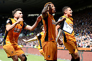 Hull City striker Abel Hernandez celebrates opening goal  during the Sky Bet Championship play-off first leg match between Derby County and Hull City at the iPro Stadium, Derby, England on 14 May 2016. Photo by Alan Franklin.