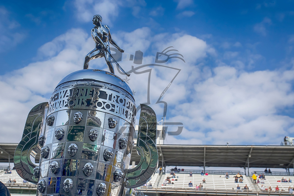 indianapolis, IN - May 17, 2014:  The Borg-Warner Trophy sits on pit road before qualifying starts for the Indianapolis 500 at Indianapolis Motor Speedway in indianapolis, IN. Kurt ran the Suretone Honda at a speed of 230.984 MPH<br /> <br /> MANDATORY PHOTO CREDIT:  Walter G. Arce, Sr. KBI/ActionSportsInc.com