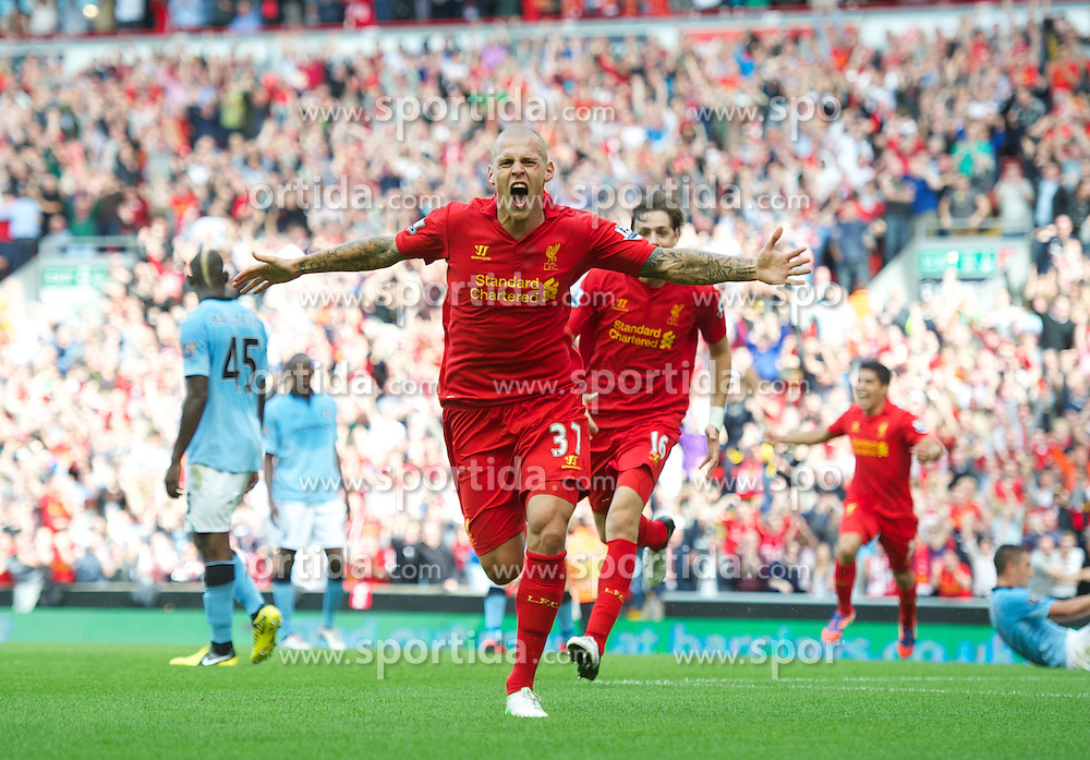 26.08.2012, Anfield, Liverpool, ENG, Premier League, FC Liverpool vs Manchester City, 2. Runde, im Bild Liverpool's Martin Skrtel celebrates scoring the first goal against Manchester City during the English Premier League 2nd round match between Liverpool FC and Manchester City at Anfield, Liverpool, Great Britain on 2012/08/26. EXPA Pictures © 2012, PhotoCredit: EXPA/ Propagandaphoto/ David Rawcliff..***** ATTENTION - OUT OF ENG, GBR, UK *****