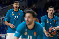 Real Madrid Walter Tavares, Fabien Causeur and Facundo Campazzo during Turkish Airlines Euroleague match between Real Madrid and Baskonia Vitoria at Wizink Center in Madrid, Spain. January 17, 2018. (ALTERPHOTOS/Borja B.Hojas)
