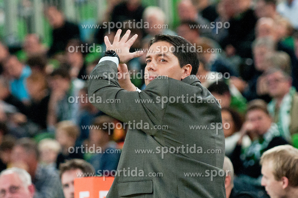 Saso Filipovski, head coach of Union Olimpija, during basketball match between KK Union Olimpija and Asseco Prokom Gdynia (POL) of 3rd Round in Group D of Regular season of Euroleague 2011/2012 on November 2, 2011, in Arena Stozice, Ljubljana, Slovenia. (Photo by Matic Klansek Velej / Sportida)