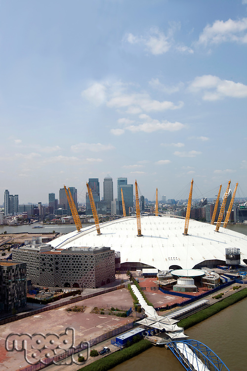 UK, England, London, 02 Arena and Canary Wharf Skyline