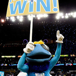 April 24, 2011; New Orleans, LA, USA; New Orleans Hornets mascot Hugo celebrate following a win over the Los Angeles Lakers in game four of the first round of the 2011 NBA playoffs at the New Orleans Arena. The Hornets defeated the Lakers 93-88.   Mandatory Credit: Derick E. Hingle
