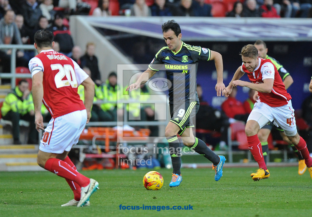 Kike of Middlesbrough bursts forward during the Sky Bet Championship match at the New York Stadium, Rotherham<br /> Picture by Richard Land/Focus Images Ltd +44 7713 507003<br /> 01/11/2014
