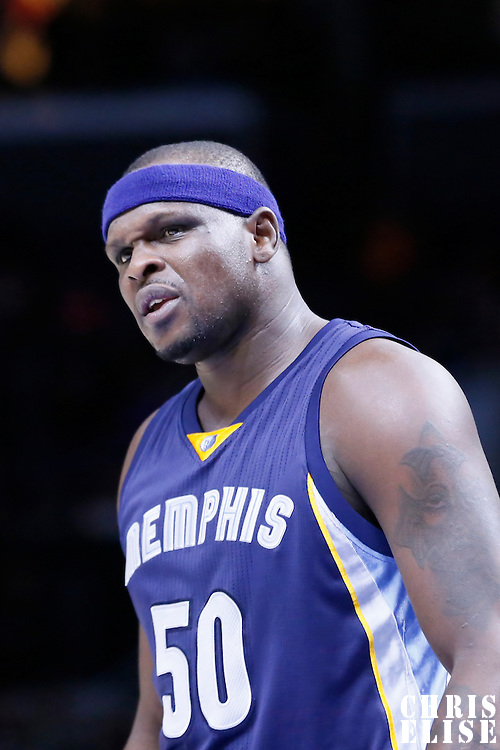 23 February 2015: Memphis Grizzlies forward Zach Randolph (50) reacts during the Memphis Grizzlies 90-87 victory over the Los Angeles Clippers, at the Staples Center, Los Angeles, California, USA.