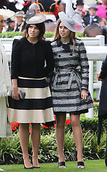 Princess's Eugenie and Beatrice at the opening day of Royal Ascot 2013, Tuesday, 18th June 2013<br /> Picture by Stephen Lock / i-Images